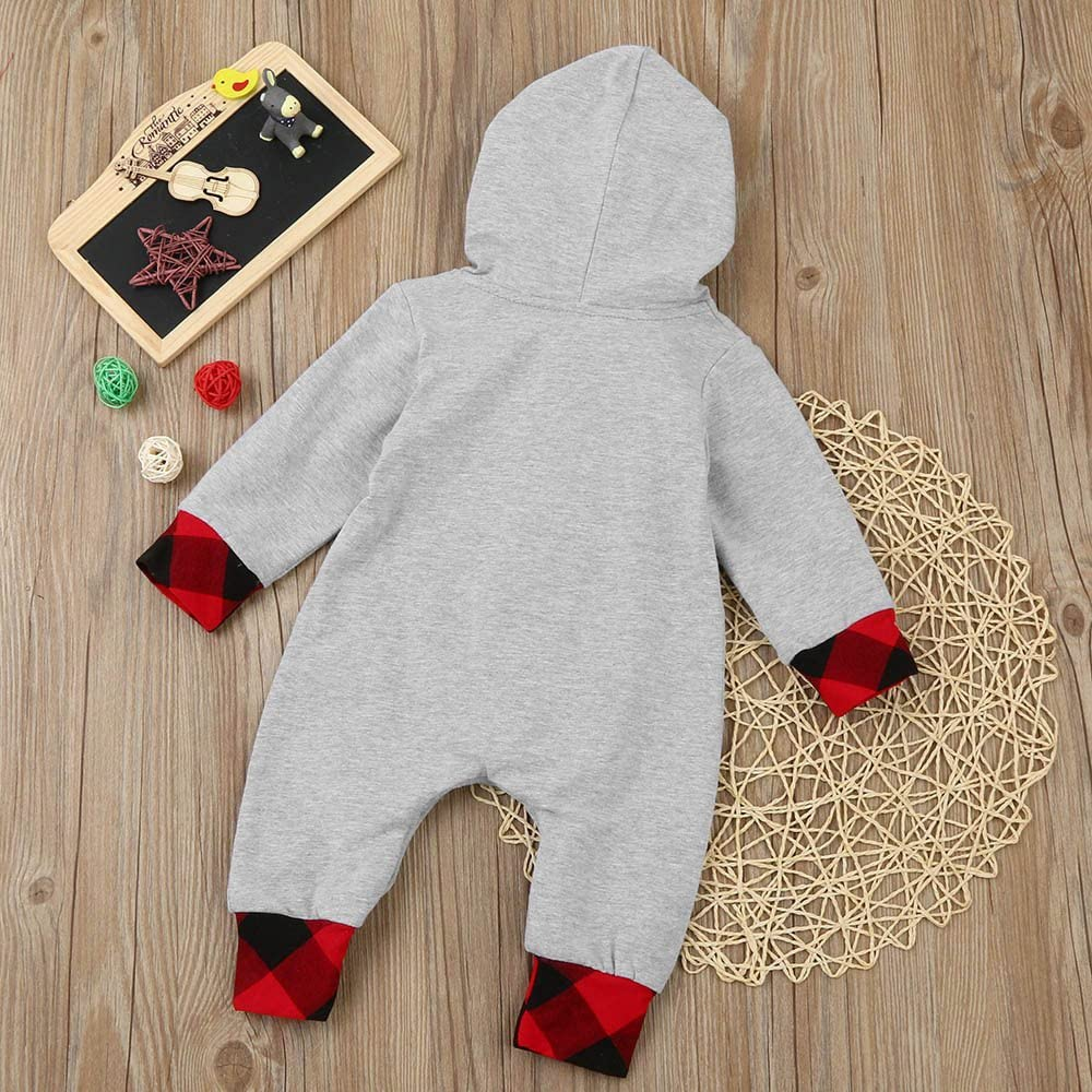 SSMENG Baby Clothes Newborn Boy Girl Plaid Hooded Romper Jumpsuit Outfits Clothes Sleep and Play