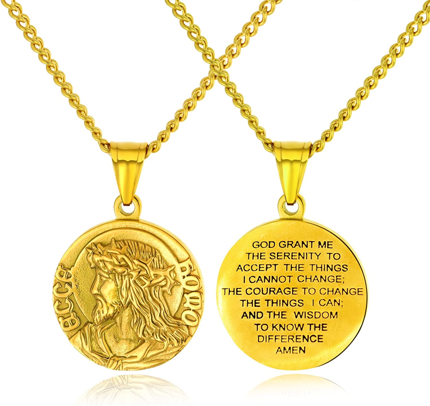 24k gold plated head of jesus crown of thorns pendant USA Made Lifetime Warranty