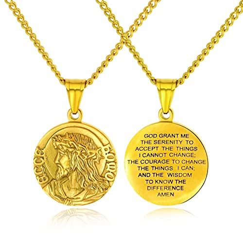 8bf1358559287 INSEA Bible Verse Prayer Christian Jesus Christ Face Pendant Stainless  Steel Coin Medal Medallion Necklace for Men Wome Silver Gold Tone