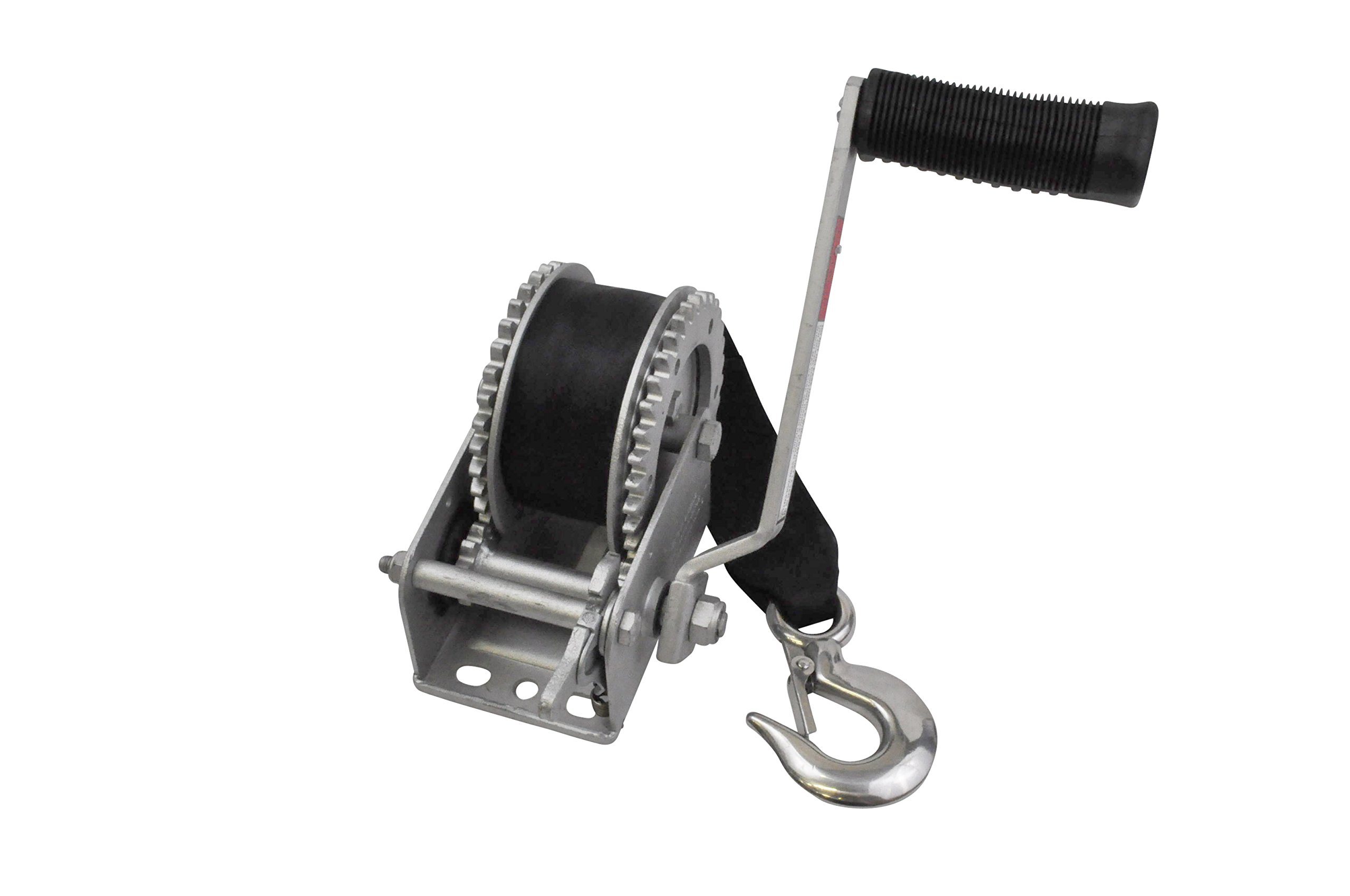 SeaSense Galvanized 1600LB Dual Drive Winch with 20-Foot Strap and Thumb Bar