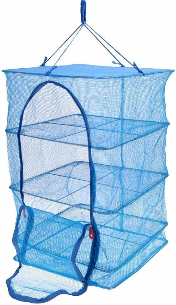 Food Dehydrator 3 Tray Hanging Drying Net / Non Electric / For Drying Herbs , Fruits , Vegetables , Fish (15.7 x 15.7 x 21.5 Inch, Blue)