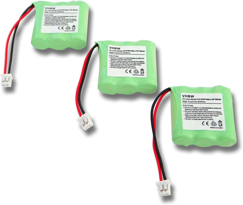 vhbw 3X NiMH batería 320mAh (3.6V) para teléfono Fijo inalámbrico teléfono Sagem D10T por LT2130.