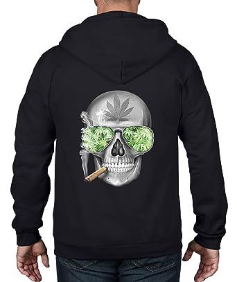 Skull Smoking Cannabis Unisex Full Zip Up Hoodie (3XL, Black)