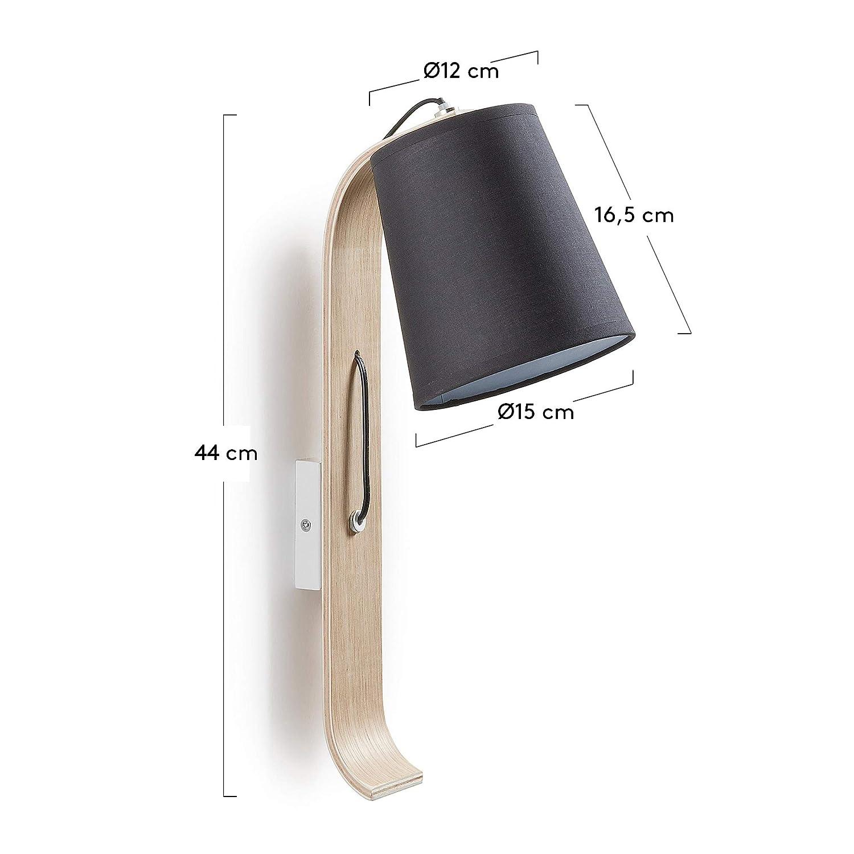 Kave Home Aplique Repcy con pantalla de algod/ón y madera