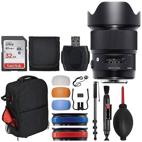 Sigma 20 mm F1.4 Arte DG HSM – Objetivo para Canon + Carrito Mochila