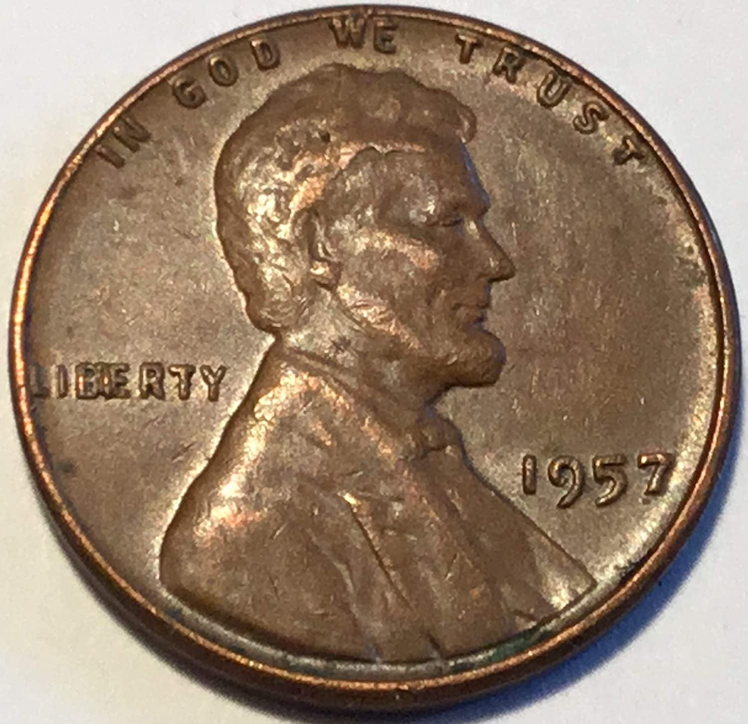 1957 Lincoln Wheat Cent CUD Liberty between B & I clogged
