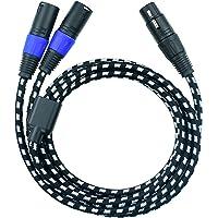 Mugteeve - Cable divisor XLR de 2 macho a 1 hembra, cable de salida de micrófono XLR equilibrado izquierdo y derecho…