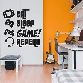 Eat Sleep Game Repeat Gamers Wall Art Vinyl Decal Video Gamers Cool Wall Decor Decoration Vinyl Sticker Teen Boys Room Decor Boys Bedroom