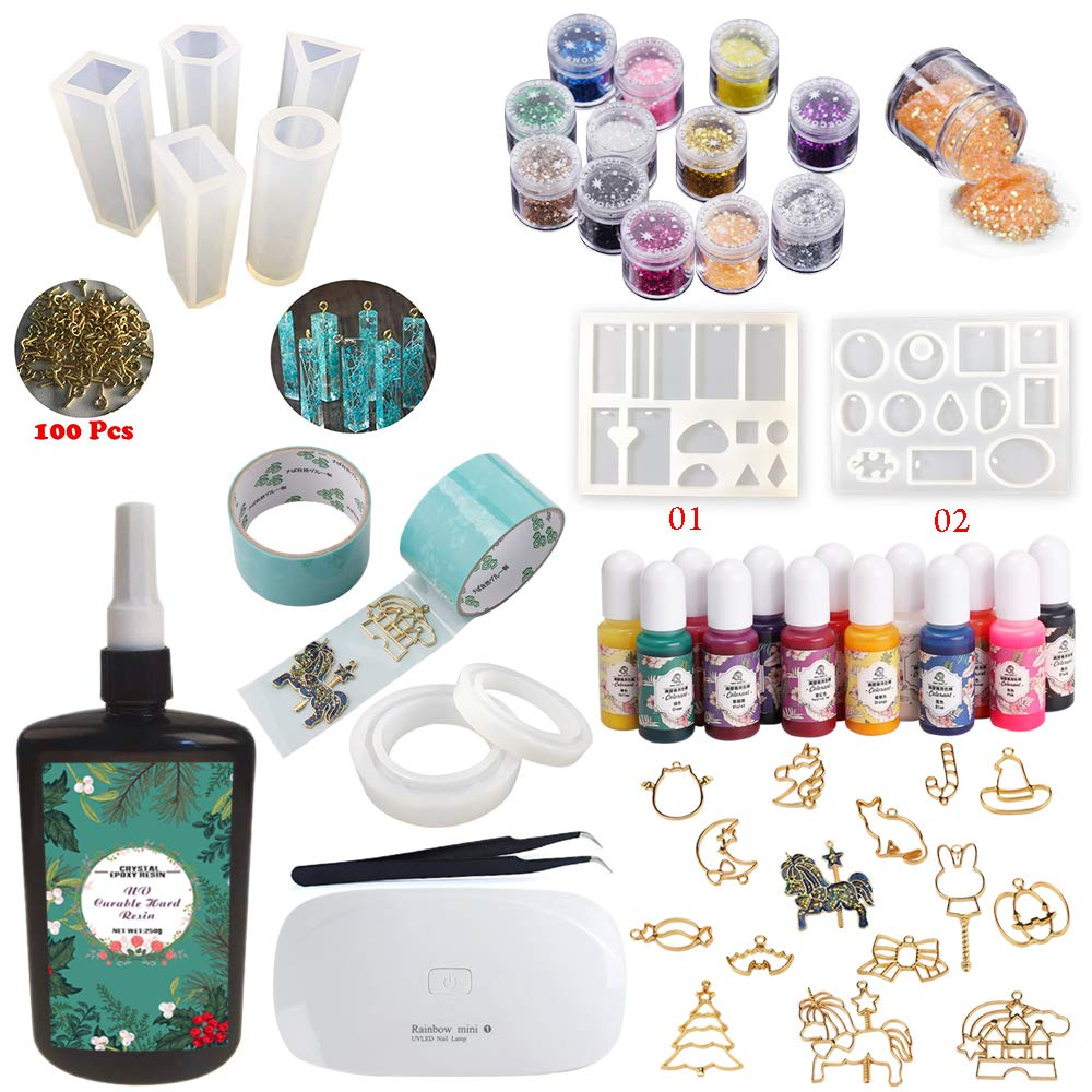 250g Crystal Clear UV Epoxy Resin Fast Curing + 9 Silicone Molds + 100 Eyelets + 14 Open Back Bezels + 2 Glueless Tapes for Crafts, Jewelry Making Kit for Pendants Charms Necklaces Earrings Bracelets Joligel