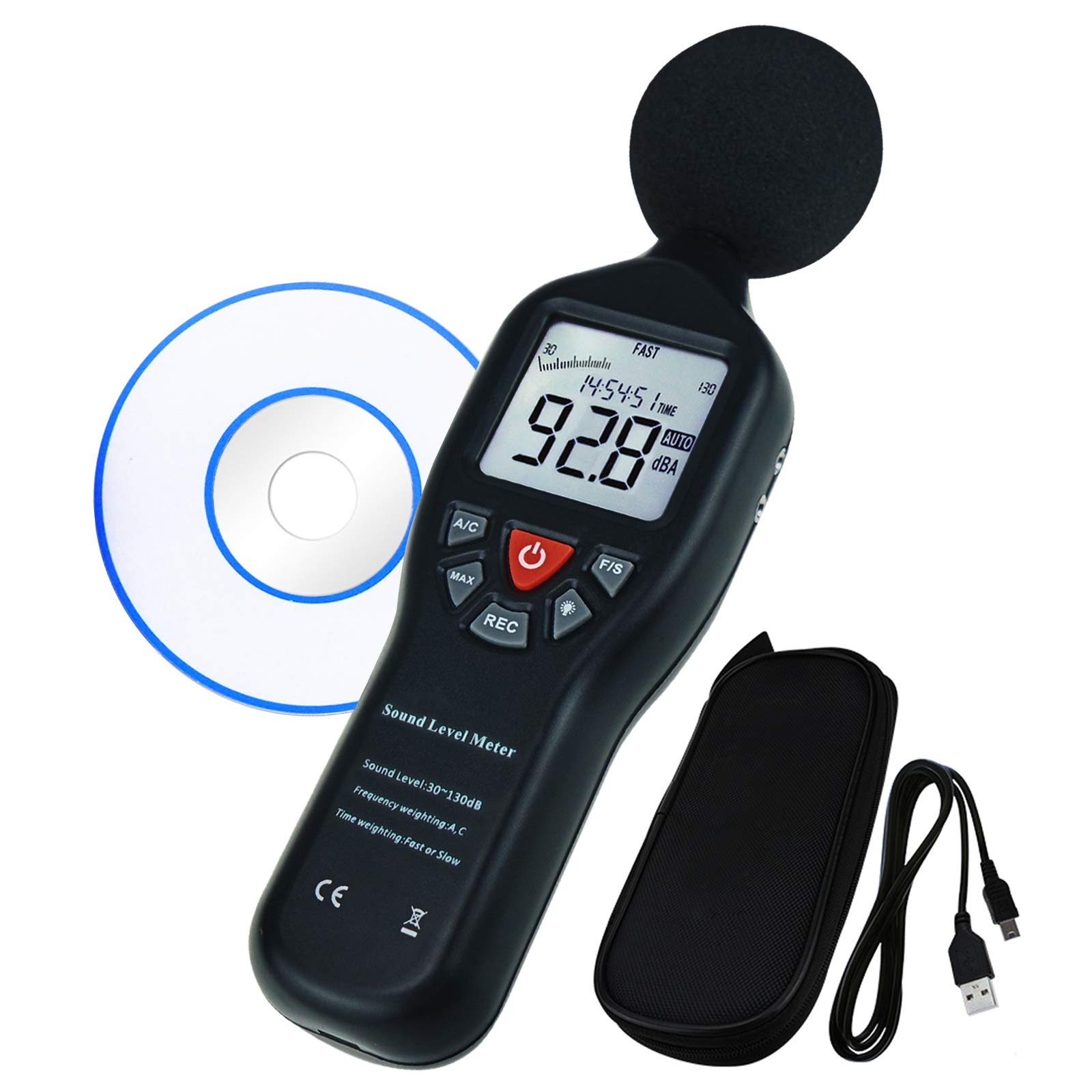Data Logging Function Sound Level Decibel Meter with Backlight Display High Accuracy Measuring 30dB~130dB Instrument Compact Professional (with CD Software) by TEKCOPLUS