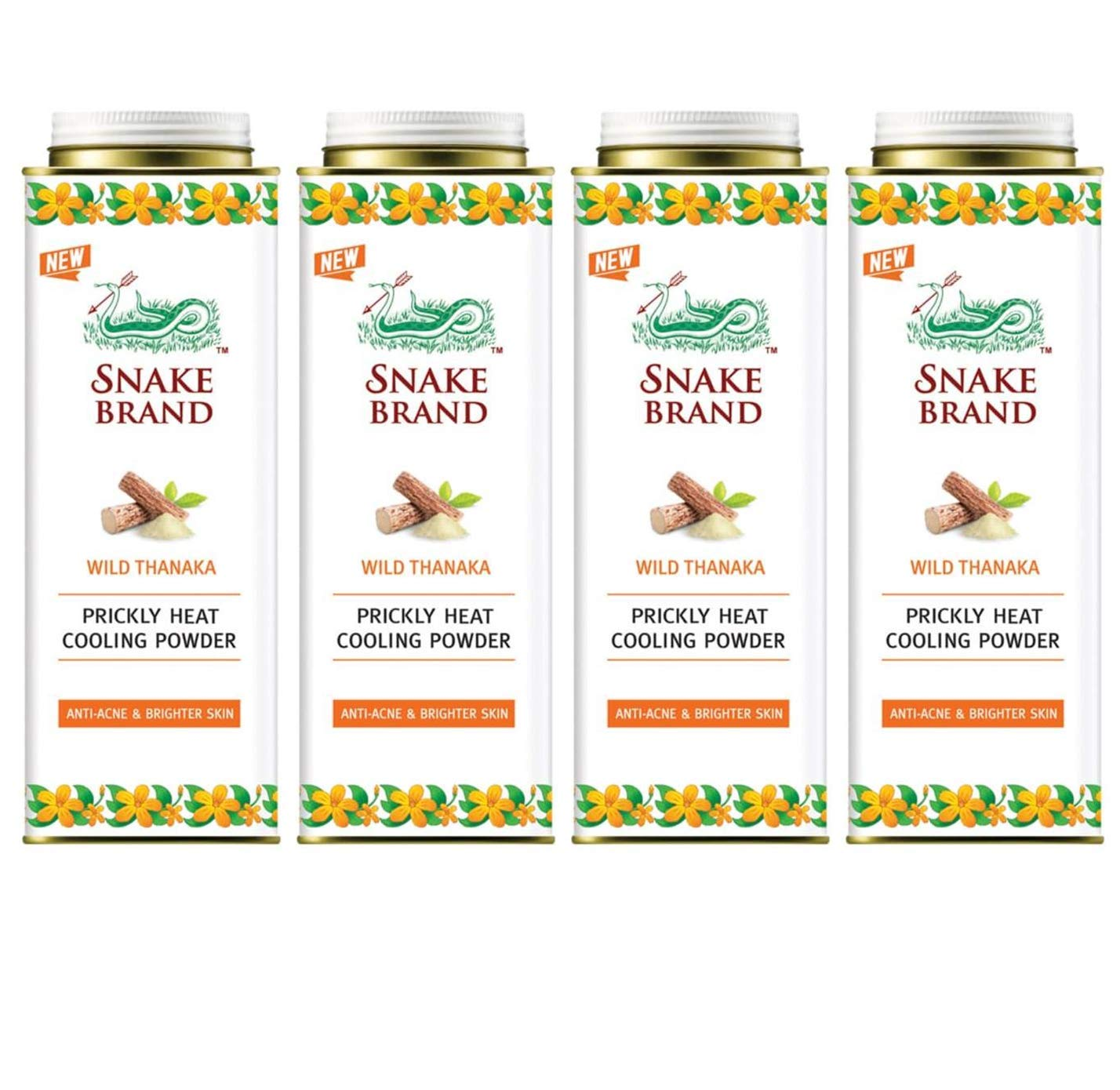 Snake Brand Prickly Heat Cooling Powder Tanaka 280 g. (4 Pack) by Snake Brand