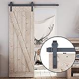 "LDB_Building 5 FT Sliding Barn Door Hardware Kit, Upgraded Nylon Hanger, Easy to Install, Perfect for Kitchen, Living Room, Bathroom, Fit 1 3/8""-1 3/4"" Thickness, 36"" Wide Door Panel (J-Shape), Black"