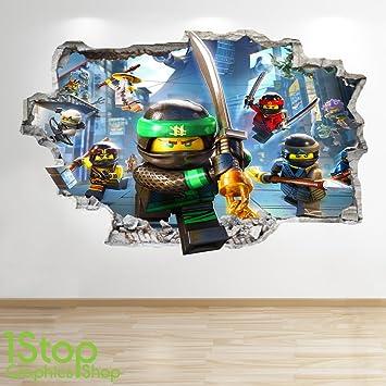 LEGO NINJAGO-SMASHED - 3D WANDTATTOO FÜR KINDERZIMMER, VINYL Z726 ...