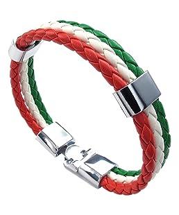 TOOGOO(R) Jewelry bracelet, Italian flag bangle, leather alloy, for men's women, green white red (width 14 mm, length 20 cm)