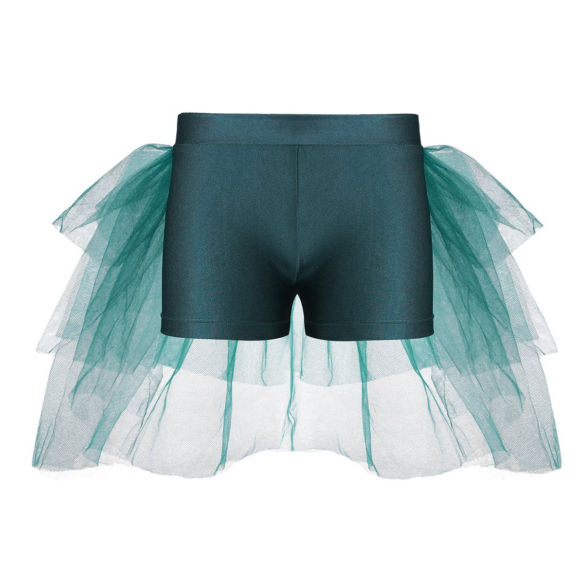 Agoky Kids Girls Shorts Bottoms with Attached Bustle Tiered Mesh for Ballet Dance Stage Performance Green 3-4