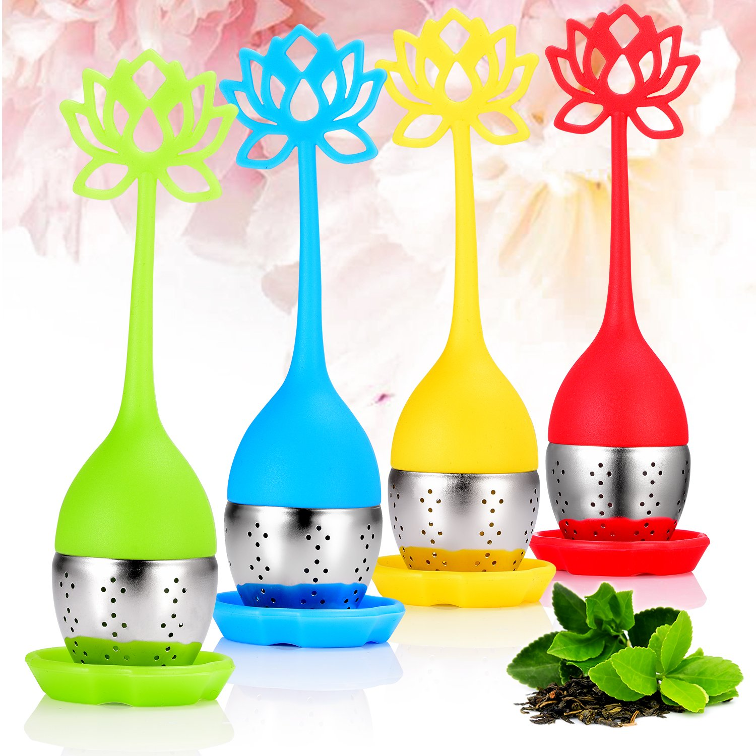 Tea Infuser- HouswillTM 4 Pack Silicone Tea Infuser for Loose Tea, Tea filters with Handle& Stainless Steel with Drip Tray, Reusable Tea Ball Herbal Tea Strainers for Herbal Weight Loss Tea