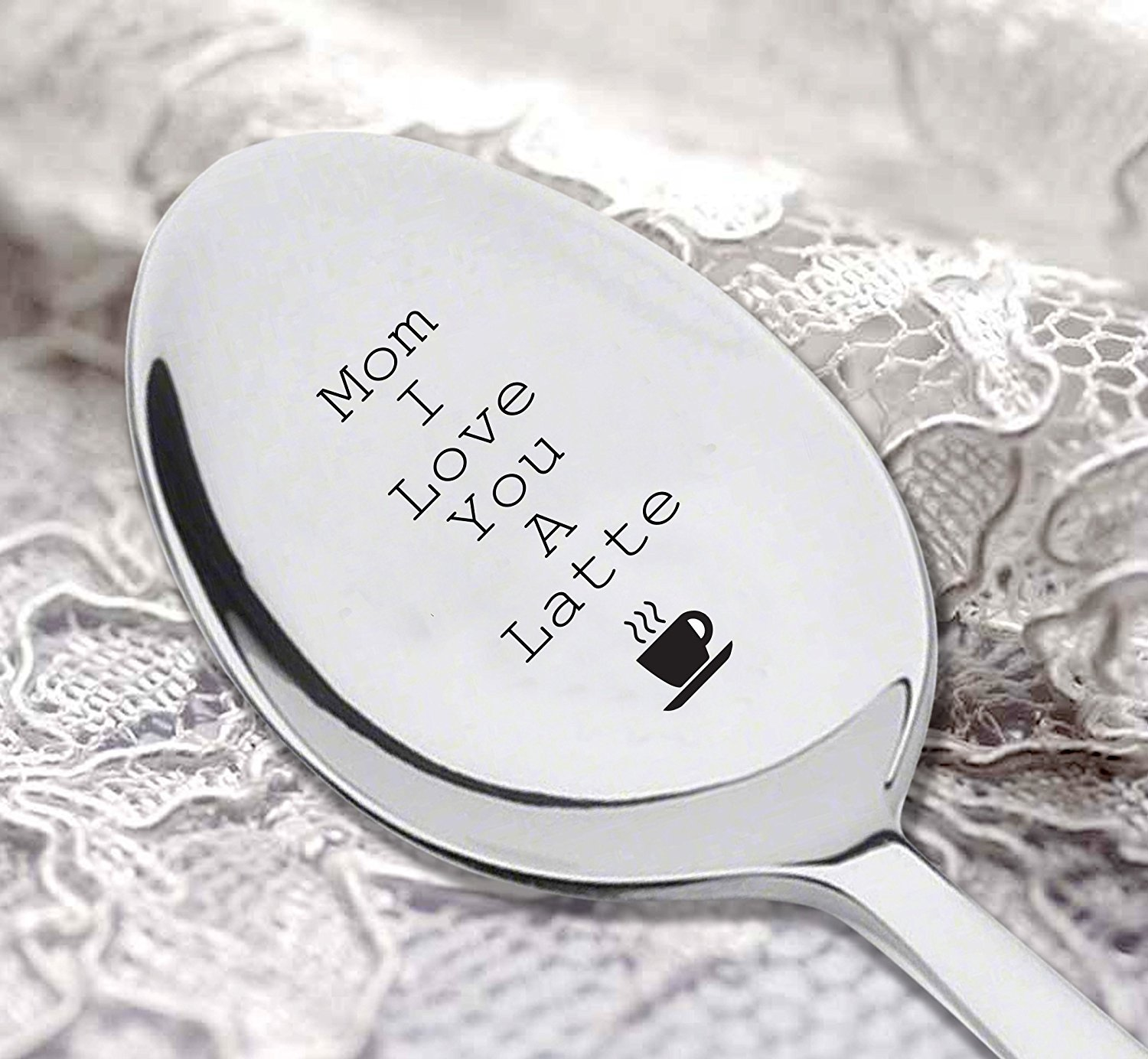 Engraved Spoon Stainless Steel Silverware Flatware Unique Birthday Easter Basket Gifts For Boy Girl Mom Dad Kids My Peanut Butter Spoon With Two Little Heart