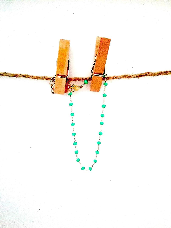 Pulsera de piedras turquesas engarzadas en cadena dorada oro de aleación - conjunto con collar y pendientes en tienda - regalo - para mujer