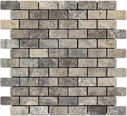 Tumbled 6 X 6 Sample Silver Travertine 2 X 2 Mosaic Tile