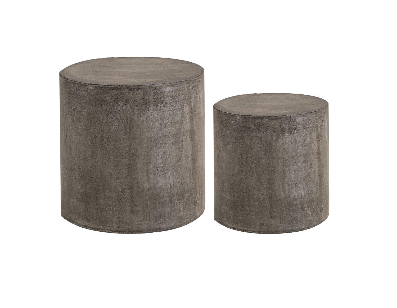 2 Tabourets en béton - tables d'appoint - grand et petit cylindre - mobilier design contemporain loft
