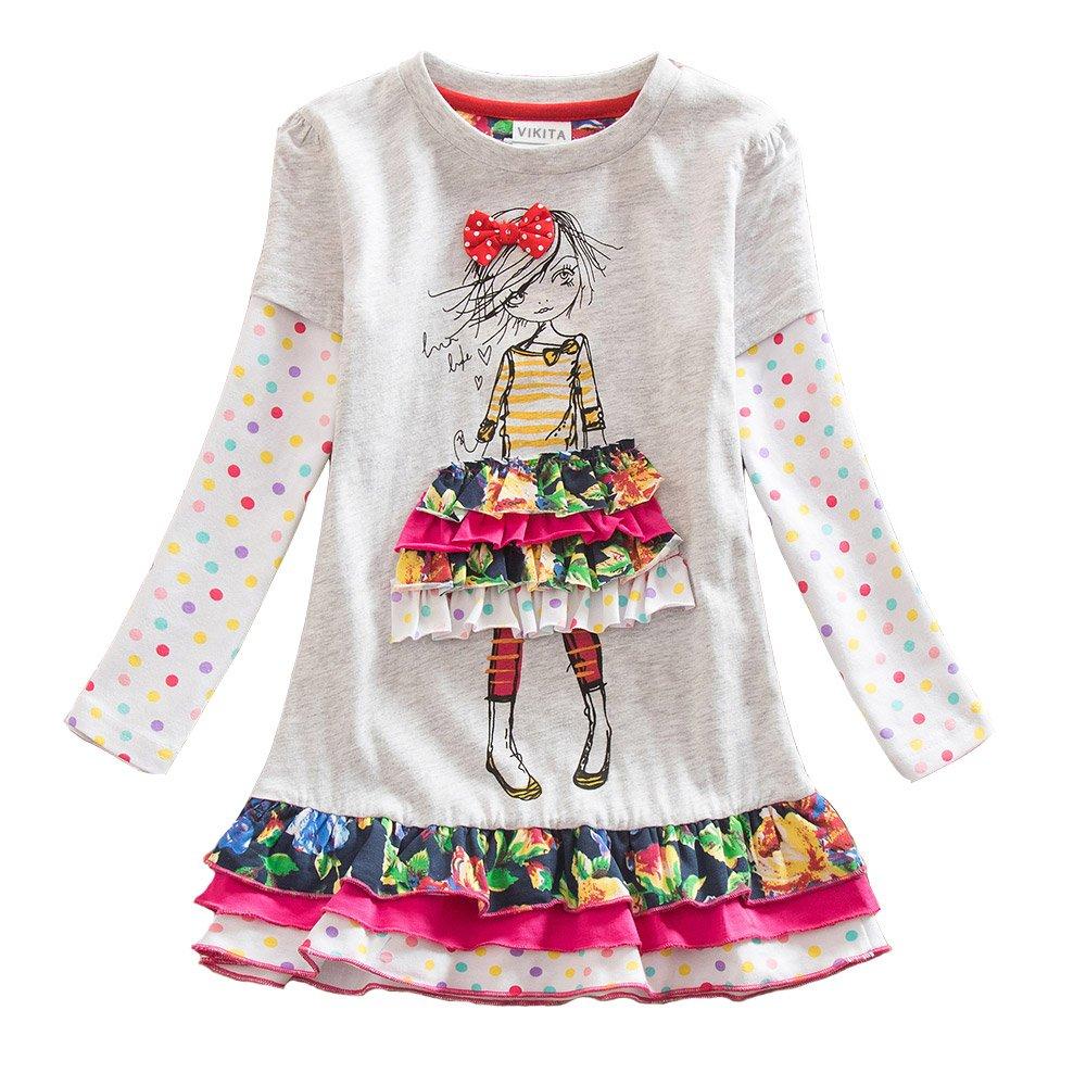 VIKITA 2018 Toddler Girls Dresses Long Sleeve Girl Dress for Kids 3-8 Years Gray LH3660, 5T