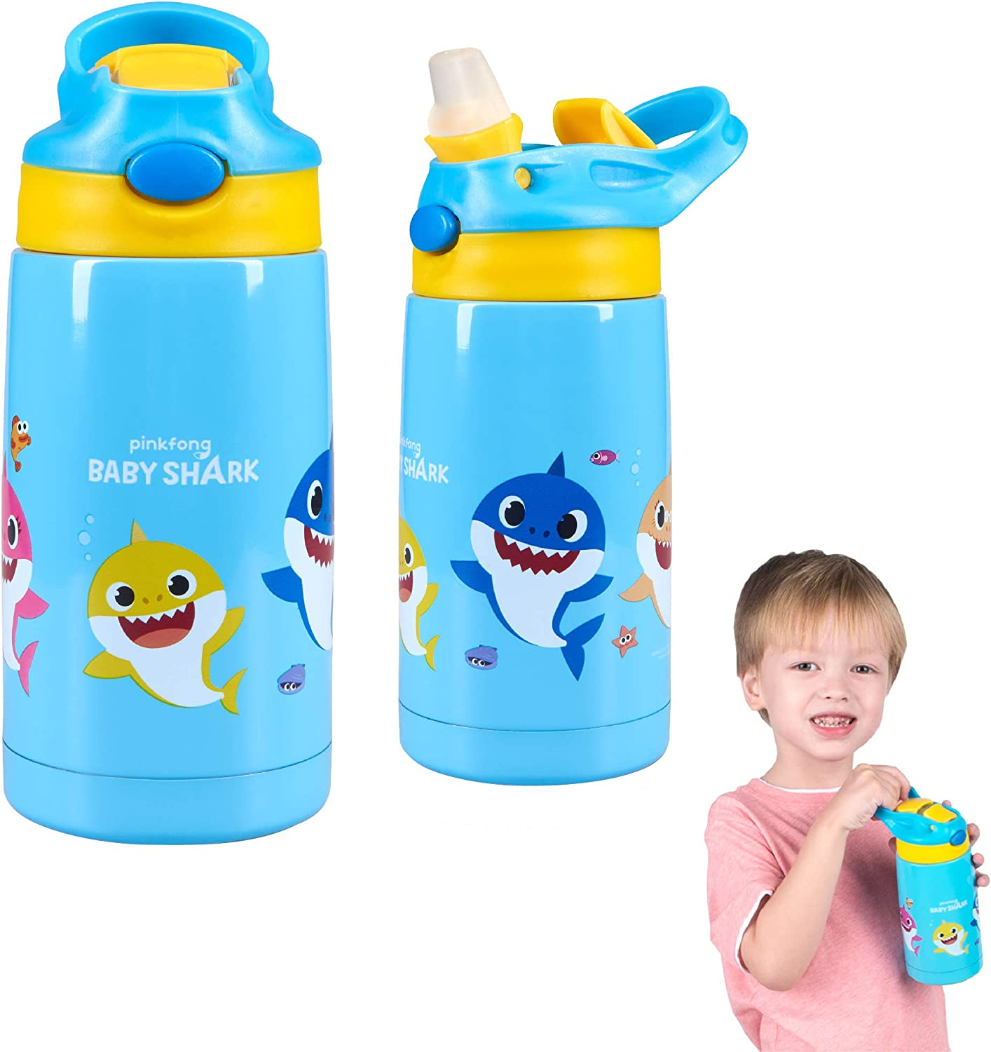 Franco Kids Double Wall Vacuum Insulated Stainless Steel Water Bottle, 14-Ounce, Baby Shark