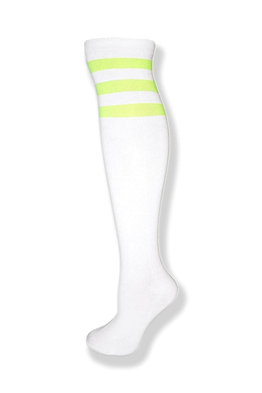 NeonNation Medias de tubo hasta la rodilla con tres rayas de diferentes colores para mujer