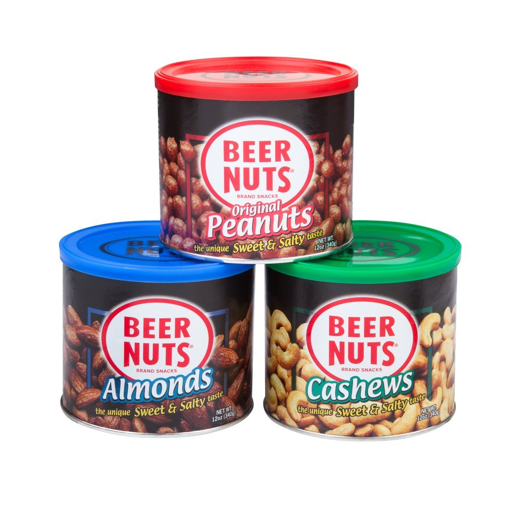 BEER NUTS Original Peanuts, Cashews, and Almonds   12 oz. Can Gift Box - Sweet and Salty