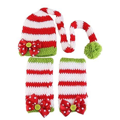 Traje de navidad accesorios de fotografía ganchillo sombrero y ropa para bebé