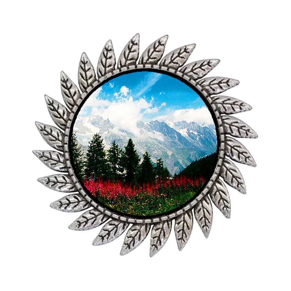 GiftJewelryShop Ancient Style Silver Plate Travel German Alps Hot Style Gear Round Pin Brooch
