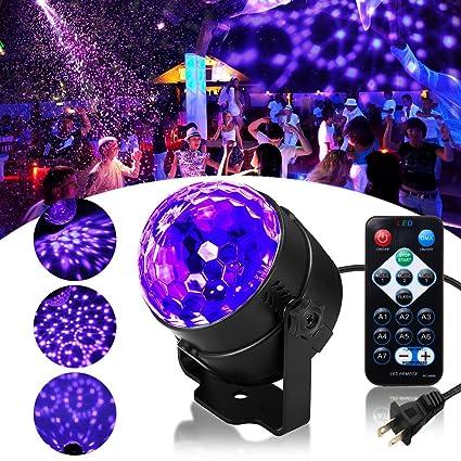 SOLMORE LED UV Black Light 3W Disco Ball Party Lights DJ Lights Sound  Activated Strobe Light