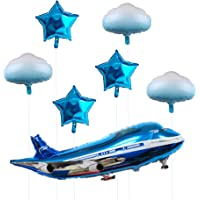 31inch Large Airplane Blue Party Decoration Happy Birthday Balloons 7Pcs
