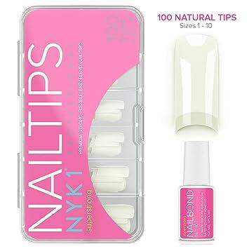 Amazon.com: Nail Glue with Natural Nail Tips - Acrylic False Tips ...