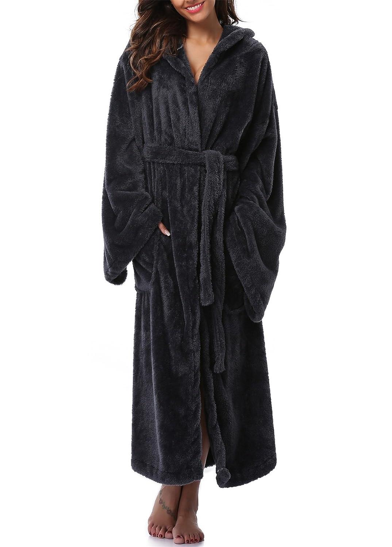 1fd446949b VIKEY Long Hooded Bathrobe for Women s Plush Coral Velvet Robe Soft Pajamas  Shower Nightgown at Amazon Women s Clothing store