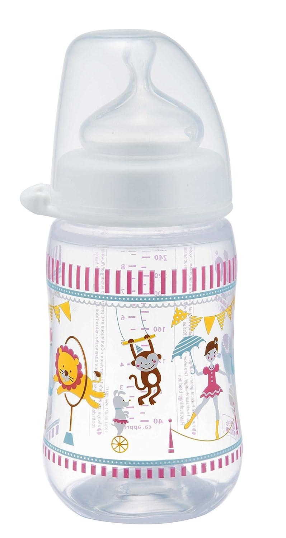 NIP Weithalsflasche mit Anti-Kolik Sauger: Baby Trinkflasche mit ACTIFLEX- System 120 ml BPA-Frei Boy Made in Germany Saugloch M-mittlerer Trinkfluss Einheitsgr/ö/ße Glass