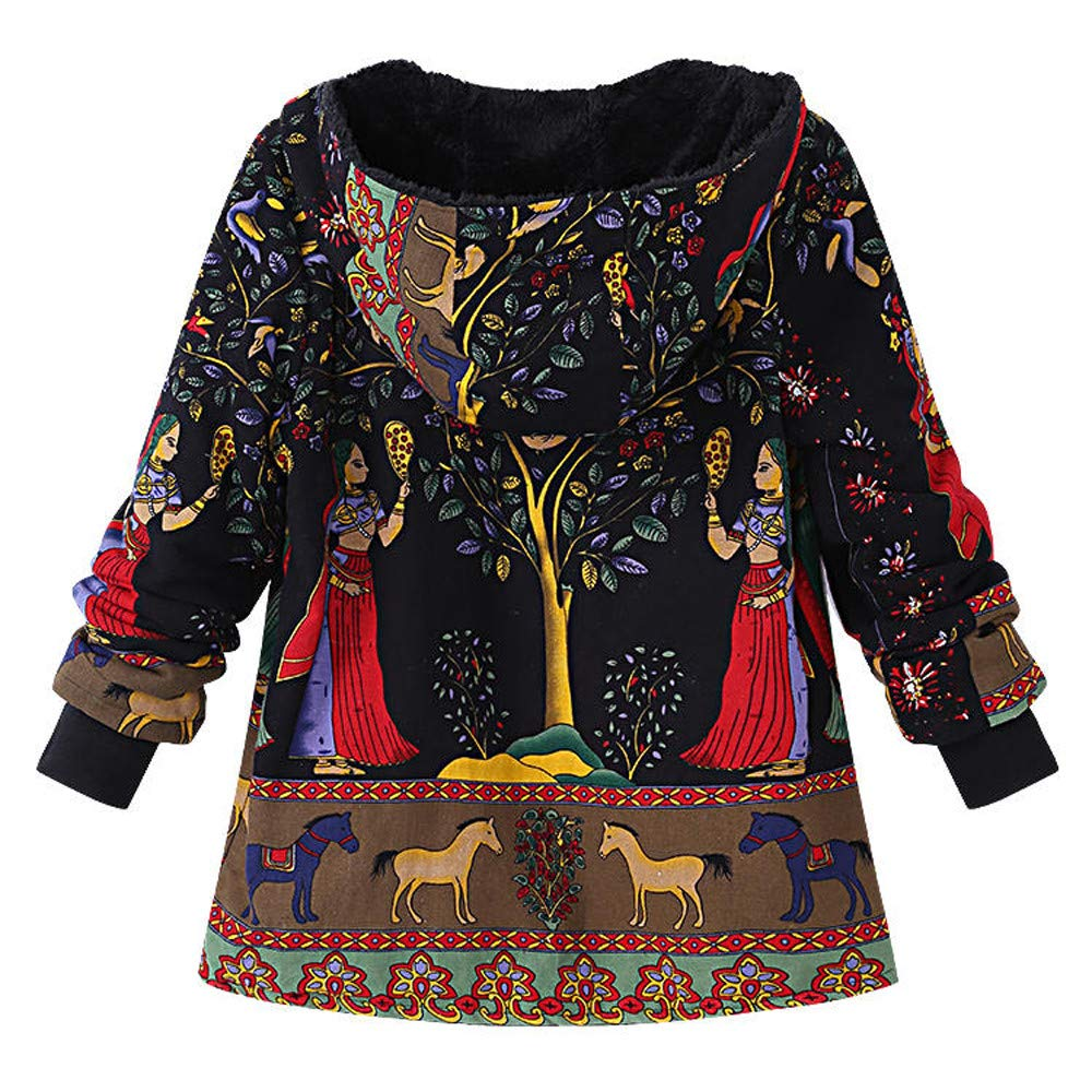 Vintage Coats Women Outwear Traditional Totem Print Hoodie Oversize Folk-Custom Coat