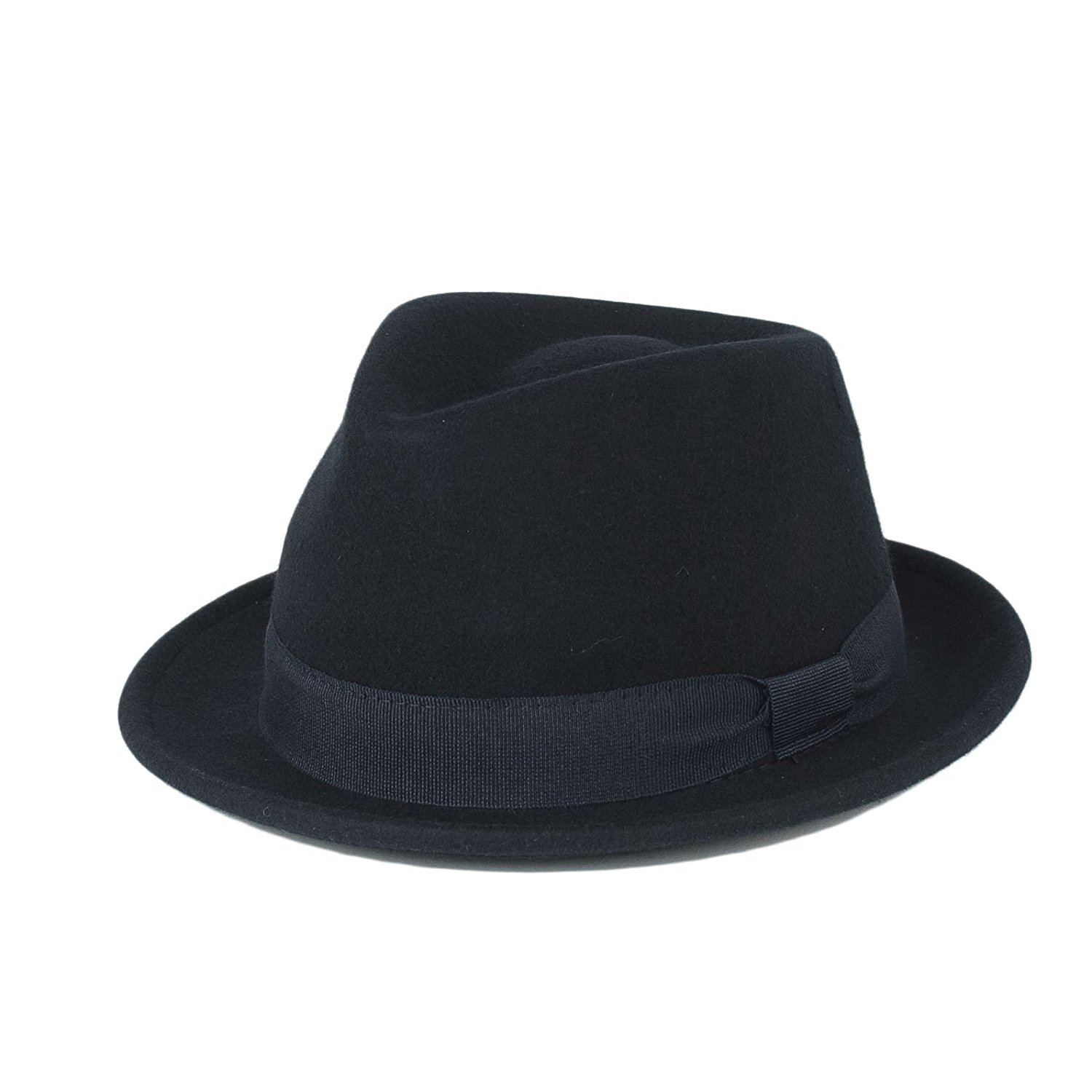 d06c738a3637a Mens Ladies Unisex 100% Wool Plain Waterproof   Crushable Fedora Trilby Hat  - Navy Blue (59 L)  Amazon.co.uk  Clothing