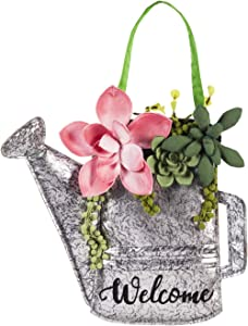 Evergreen Flag Succulents Watering Can Door Décor - 15 x 1 x 20 Inches