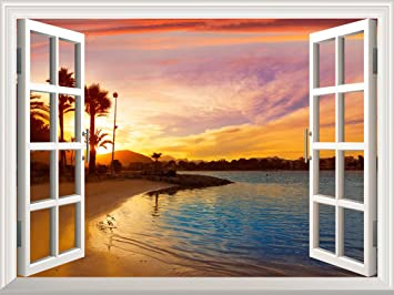 Removable Wall Sticker / Wall Mural   Tropical Beach View At Sunset |  Creative Window View Part 87