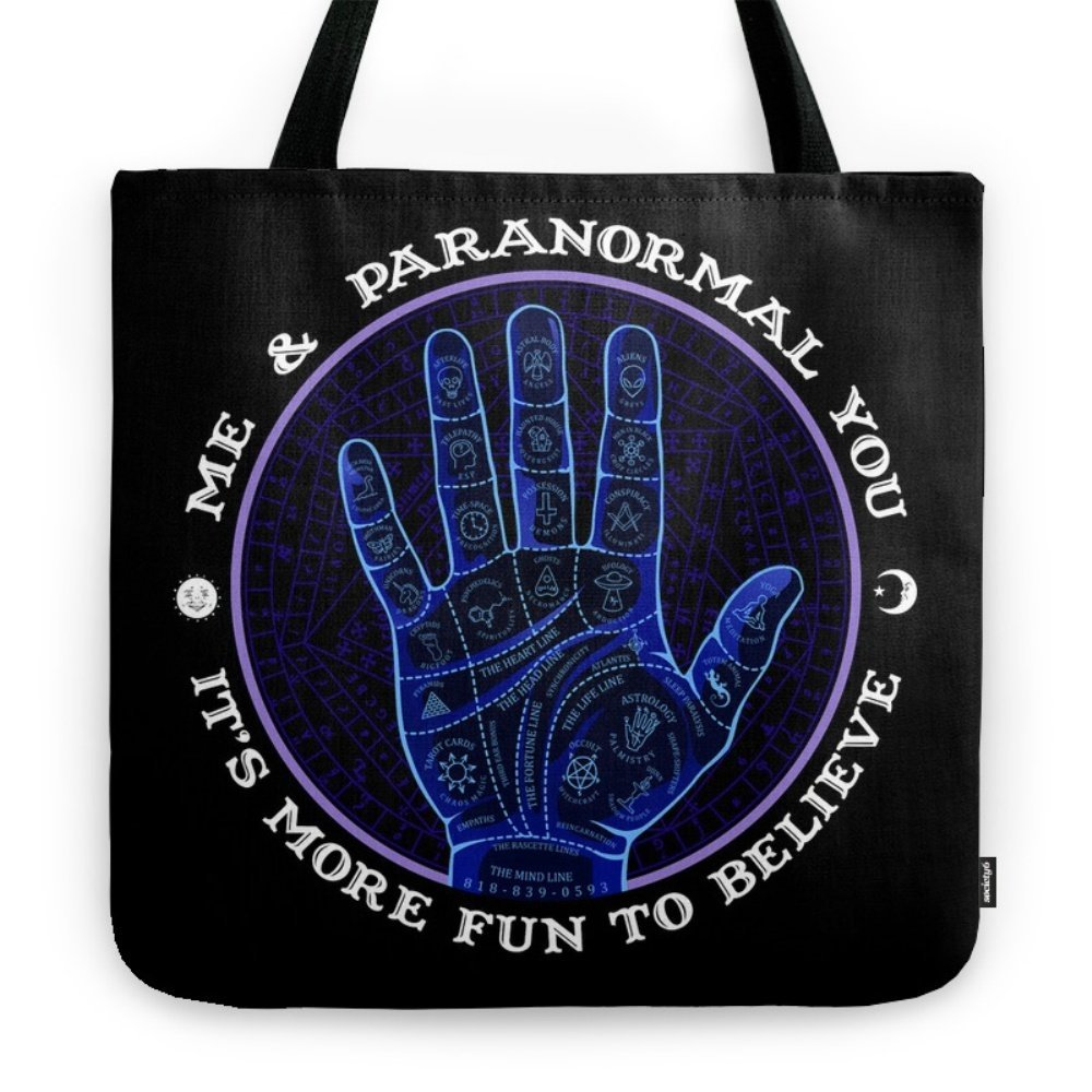 Society6 Me & Paranormal You - James Roper Design - Palmistry (white Lettering) Tote Bag 18'' x 18''