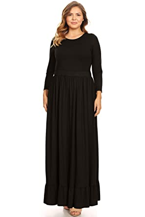 64bc2792014 Womens Plus Size Maxi Dress with Ruffle Hem Long Sleeve Loose Plus Size  Dress-USA