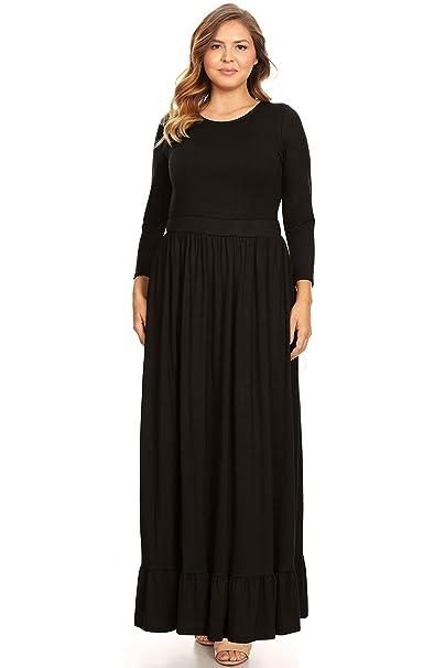 Womens Plus Size Maxi Dress with Ruffle Hem Long Sleeve Loose Plus Size  Dress-USA