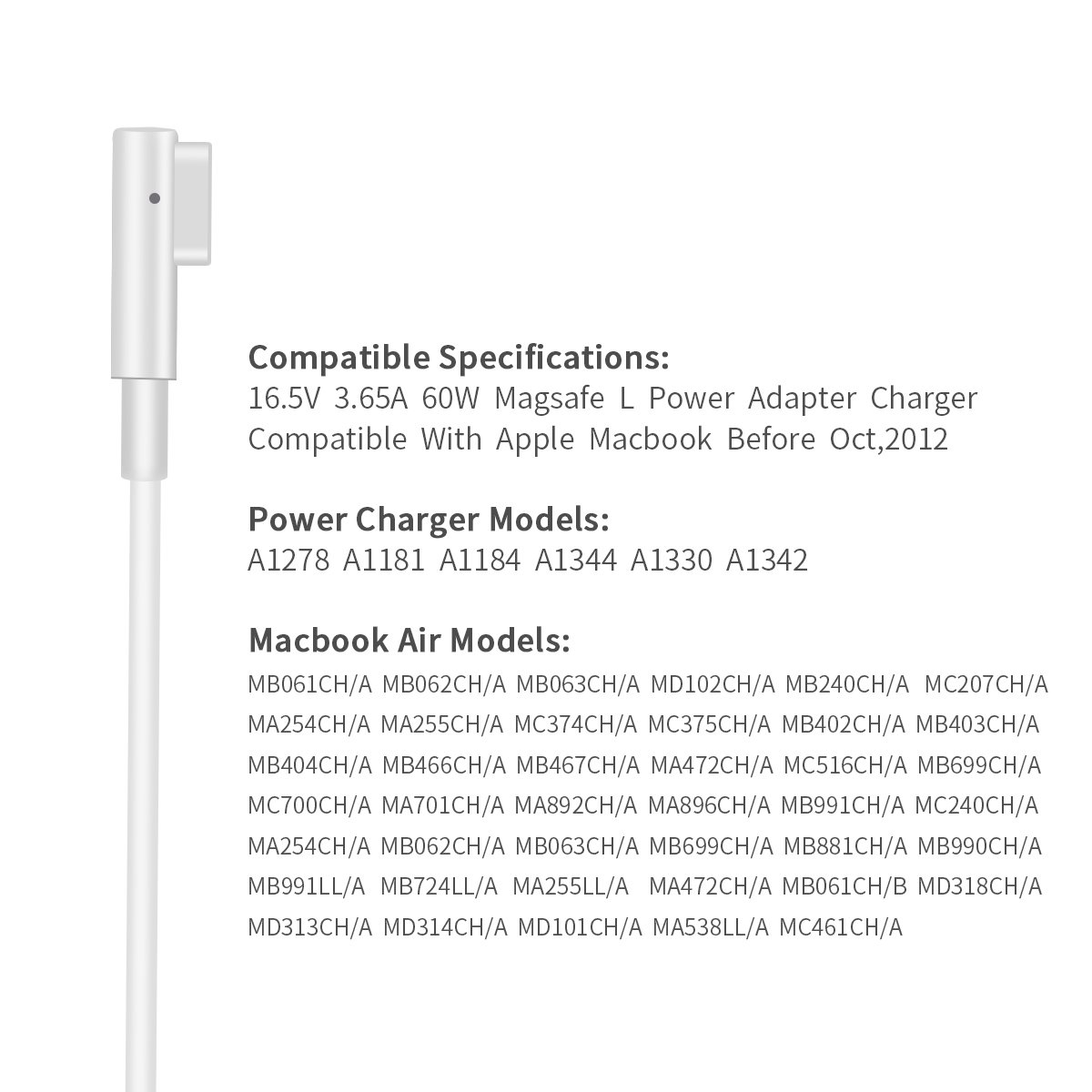 Macbook Pro Charger, AC 60W Magsafe L-Tip Power Adapter Replacement Charger for Apple Macbook Pro 13 inch A1181 A1278 A1184 A1330 A1342 A1344 (Before Mid 2012 Models) by DDBOX (Image #4)