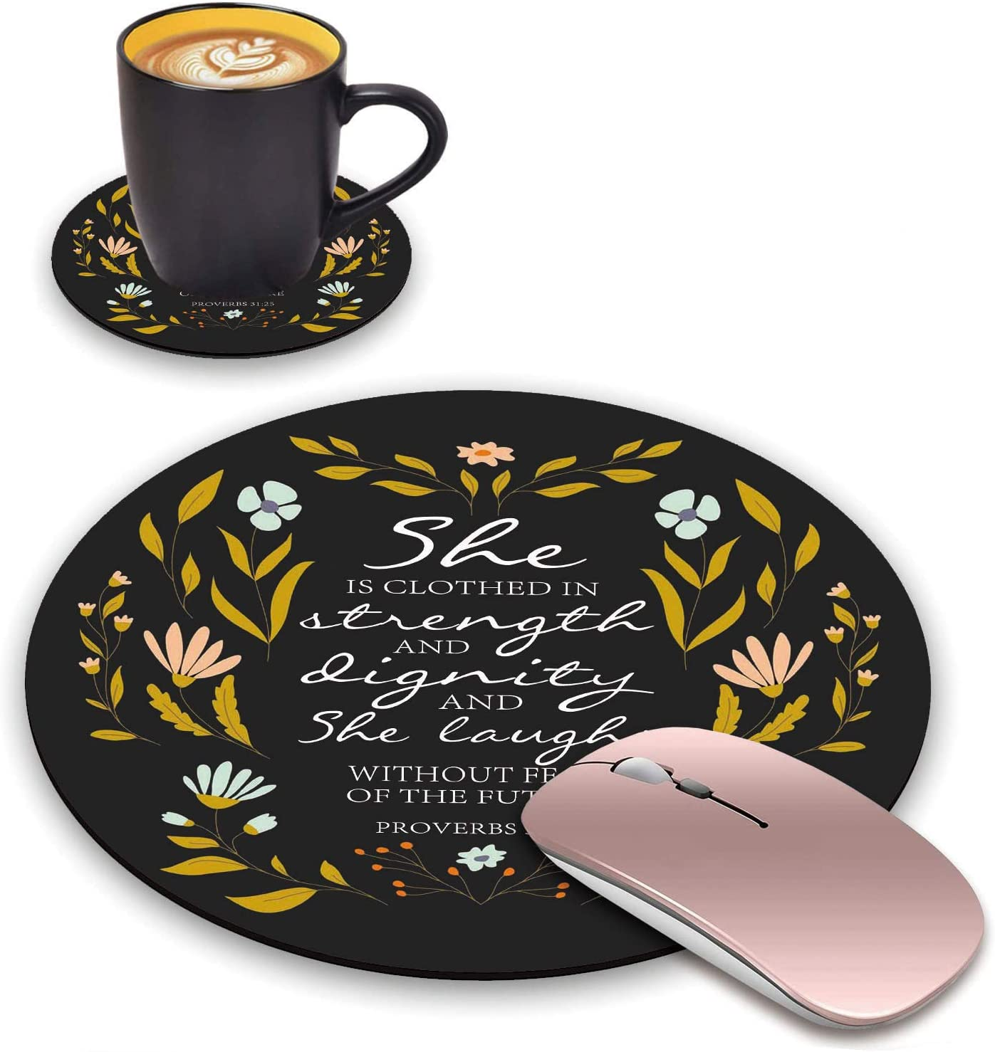 ChaTham Round Mouse Pad with Coasters Set, Floral Quote Christian Quote Bible Verse Proverbs 31:25 Mouse Pad, Non-Slip Rubber Base Mouse Pads for Laptop and Computer Office Accessories