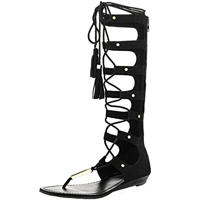 00785068c8a4 YDN Womens Lace-up Knee High Thong Sandals Suede Strappy Gladiator Flats  Shoes with Fringes