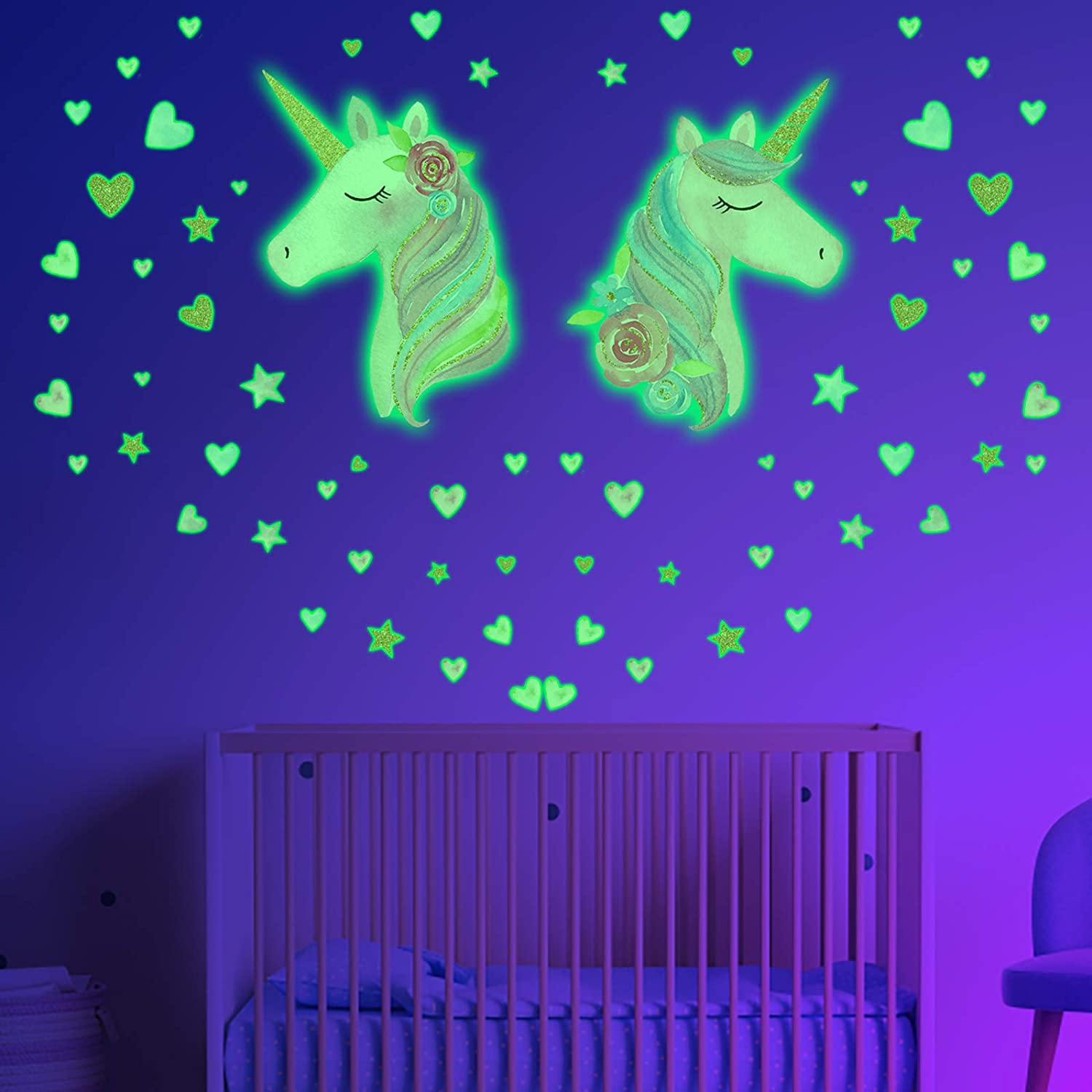 Glow in The Dark Stars for Ceiling, 2 Sheets Unicorn Wall Decal for Girls Bedroom, Unicorn Room Decor for Girls Bedroom,Unicorn Wall Stickers for Kids
