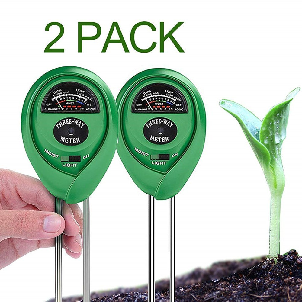 BeFirst Soil pH Tester Kits, 3-in-1 Soil Meter for Moisture, Light and pH/Acidity Meter Plant Tester,Good for Gardener or Planter Both Indoor and Outdoors (No Battery Needed) (Round 2Pack Green)