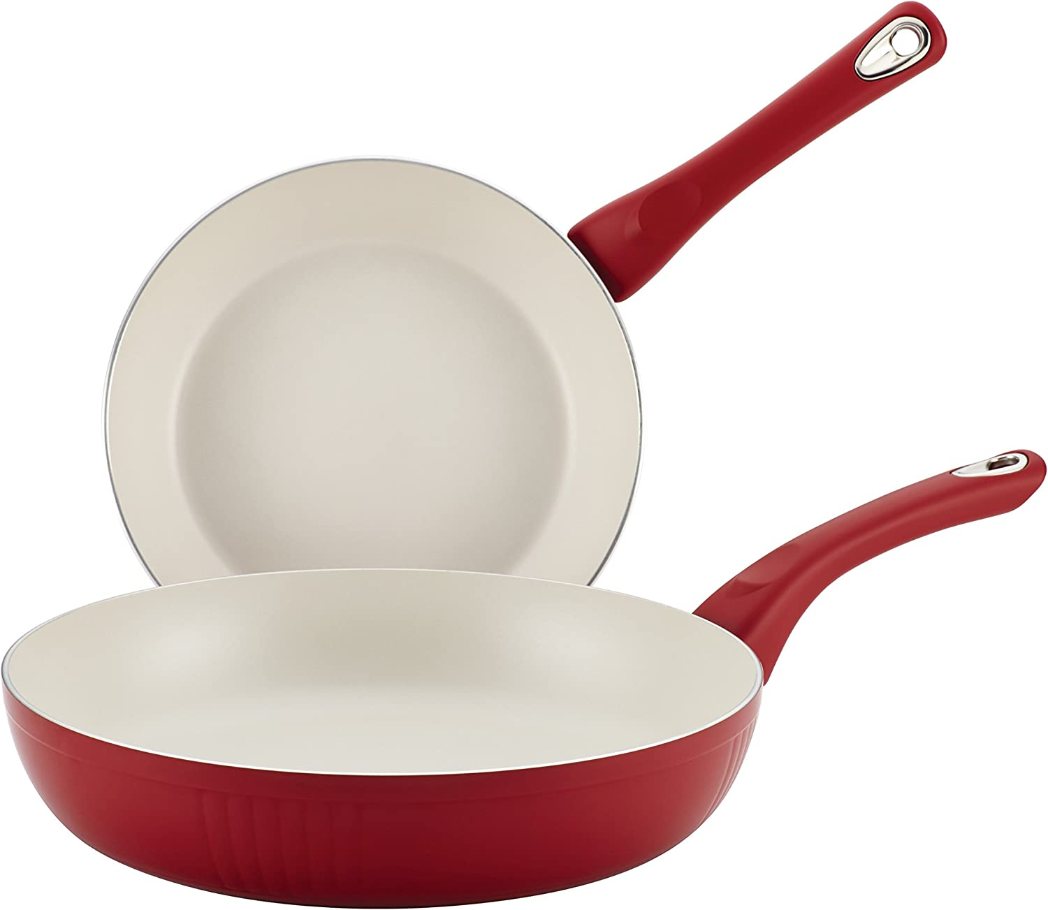 Farberware New Traditions Nonstick Frying Pan Set / Fry Pan Set / Skillet Set - 8 Inch and 10 Inch, Red