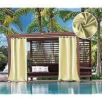 Domdil - Cortinas exteriores con presillas resistente para cenador, balcón, casa de la playa, opacas, impermeables…