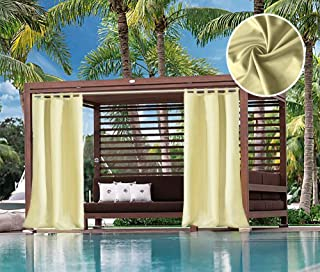 UniEco Outdoor Curtain Loop Curtains Garden Holes Balcony Curtains Blackout Curtains Waterproof Mildew Resistant for Gazebo Beach Hall, 1 Piece, 132 x 215 cm, Beige